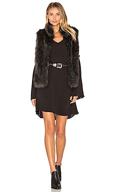 Colton Faux Fur Vest in Schwarz