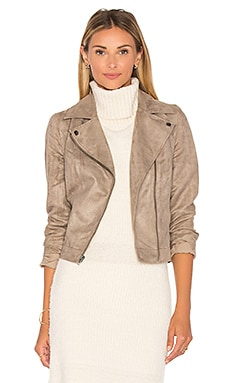 Jack By BB Dakota Marilou Faux Suede Moto Jacket in Stone Brown