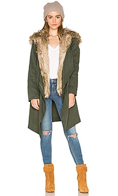Gerrard Jacket with Faux Fur Trim in Army Green