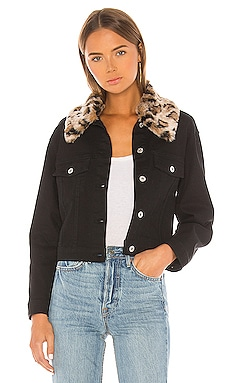 Cant Meow Faux Fur Collar Denim Jacket BB Dakota $98