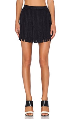 Barton Fringe Skirt in Black