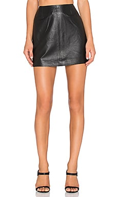 BB Dakota Emerick Leather Skirt in Black