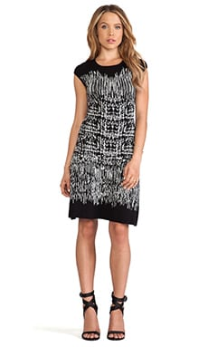 Melissa Crew Neck Printed Dress in Black Combo