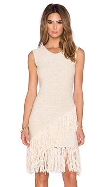 BCBGMAXAZRIA Raychull Fringe Midi Dress in Corozo