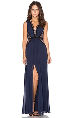 BCBGMAXAZRIA Plunge Neck Gown in Dark Navy Combo