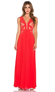 BCBGMAXAZRIA Pleated Maxi Dress in Bright Poppy