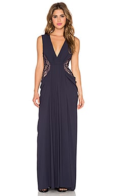 BCBGMAXAZRIA Kamara V Neck Gown in Dark Midnight