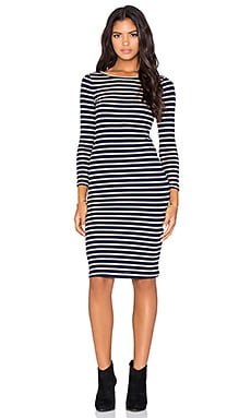 BCBGMAXAZRIA Briza 3/4 Sleeve Dress in Navy & Khaki