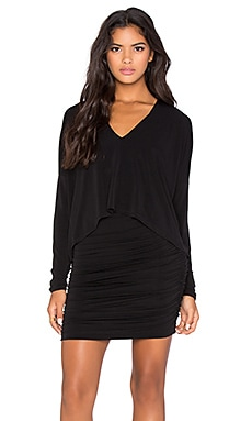 BCBGMAXAZRIA Layered V Neck Mini Dress in Black