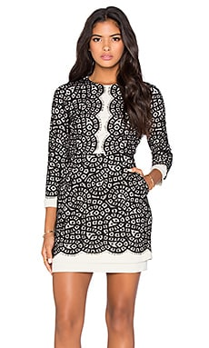 BCBGMAXAZRIA Long Sleeve Lace Mini Dress in Oatmeal