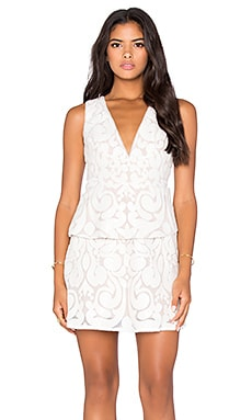 BCBGMAXAZRIA Plunge Neck Mini Dress in Cream