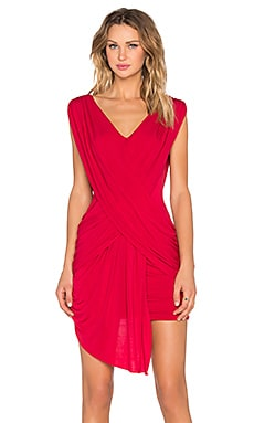 BCBGMAXAZRIA Draped Mini Dress in New Red