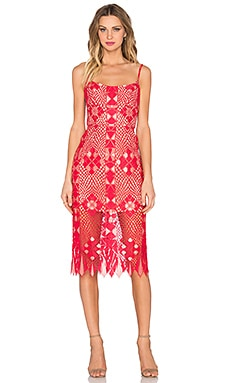 BCBGMAXAZRIA Aliese Dress in Lipstick Red & Whisper Pink