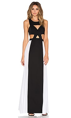 BCBGMAXAZRIA Cut Out Gown in Black Combo