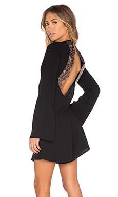 Giulianna Lace Open Back Dress in Black