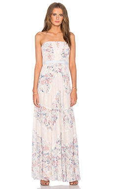 BCBGMAXAZRIA Elle Lace Strapless Dress in Dew Combo