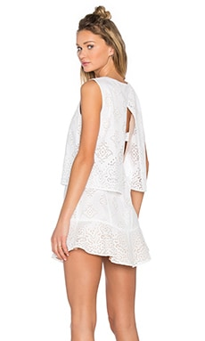 BCBGMAXAZRIA Vivian Crochet Open Back Dress in White Combo