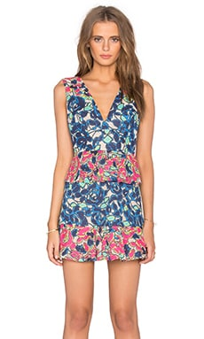 BCBGMAXAZRIA Caron V Neck Floral Dress in Dark Ink Combo