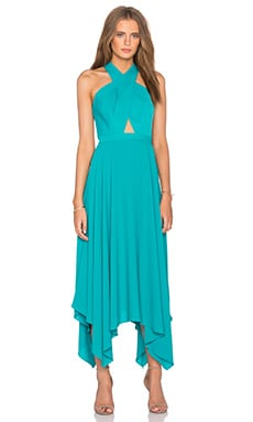 BCBGMAXAZRIA Annmarie Cross Front Maxi Dress in Bright Emerald
