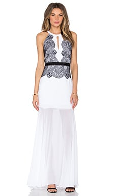 Gerogianna Lace Maxi Dress en White Combo