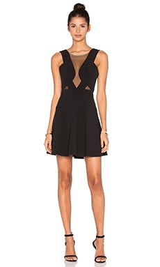 BCBGMAXAZRIA Britney Sheer Cutout Dress in Black