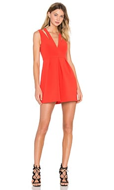 Clarye Deep V Dress in Bright Poppy