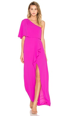 Secha One Shoulder Maxi Dress en Magenta