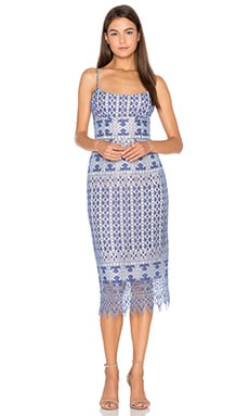 BCBGMAXAZRIA Alese Midi Dress in Royal Blue Combo