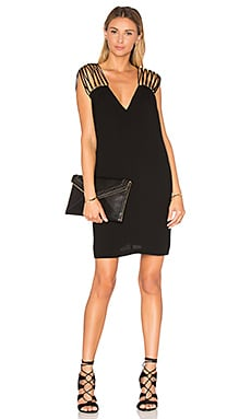 V Neck Shift Dress in Black