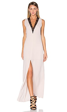 BCBGMAXAZRIA Lace Front Maxi Dress in Bare Pink