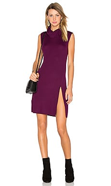 Side Slit Sweater Dress in Deep Port