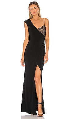 One Shoulder Lace Bust Gown BCBGMAXAZRIA $298