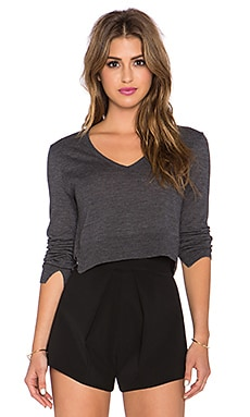 BCBGMAXAZRIA V Neck Crop Sweater in Charcoal