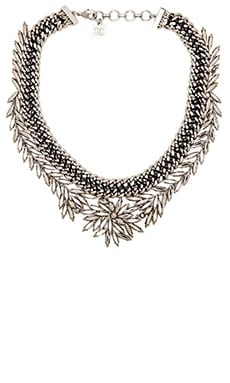 BCBGMAXAZRIA Woven Leaf Necklace in Rhodium