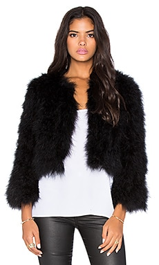 BCBGMAXAZRIA Margaret Maribou Feathered Jacket in Black