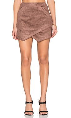 BCBGMAXAZRIA Faux Suede Skirt in Toffee