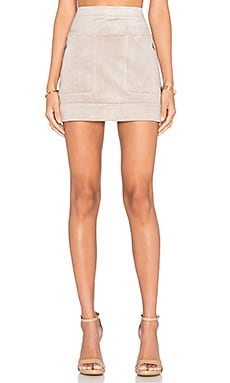 BCBGMAXAZRIA Faux Suede Mini Skirt in Hazelnut