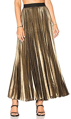 Pleated Maxi Skirt in Black Gold