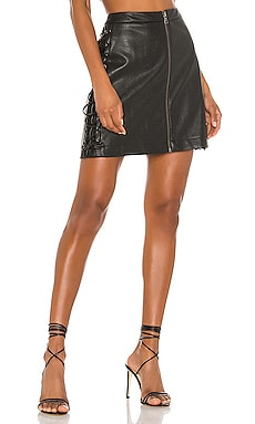 Leather Lace Up Mini Skirt BCBGMAXAZRIA $198 NEW ARRIVAL