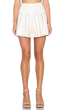 BCBGMAXAZRIA Bronwyn Embroidered Mini Skirt in Off White