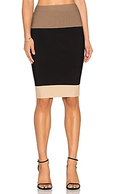 BCBGMAXAZRIA Scarlett Colorblock Skirt in Light Nude Combo