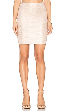 BCBGMAXAZRIA Josie Foil Mini Skirt in Bare Pink Gold