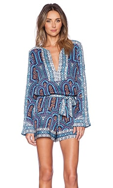 BCBGMAXAZRIA Melodi Romper in Blue Depths Combo
