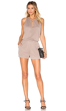 BCBGMAXAZRIA Sleeveless Romper in Vintage Gravel