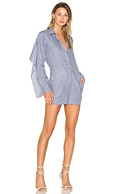 Collared Romper in Chambray Combo