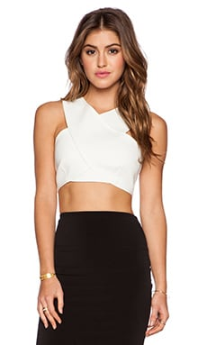 BCBGMAXAZRIA Nyella Crop Top in Off White