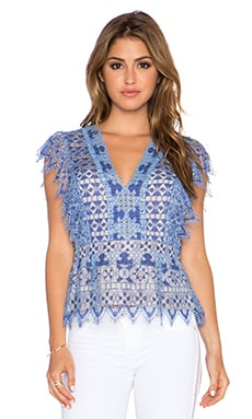 BCBGMAXAZRIA Ambar Top in Royal Blue Combo