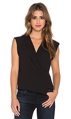 BCBGMAXAZRIA Drape Front Top in Black