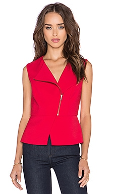 BCBGMAXAZRIA Deisi Zip Up Sleeveless Tank in Burnt Poppy