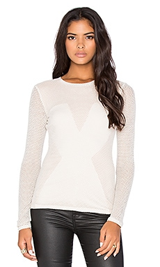 BCBGMAXAZRIA Carressa Long Sleeve Top in Oatmeal